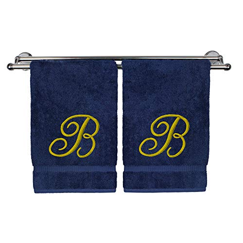 (Monogrammed Hand Towel, Personalized Gift, 16 x 30 Inches - Set of 2 - Gold Embroidered Towel - Extra Absorbent 100% Turkish Cotton - Soft Terry Finish - for Bathroom, Kitchen and Spa - Script B Navy)