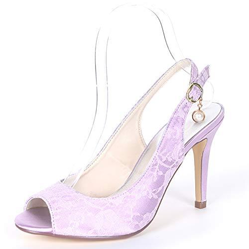 Toe Novia Peep L Altos heels Marfil Hebilla Bajo Tacones Boda Mujeres Zapatos Las Satén yc Purple De Plataforma PwA7q
