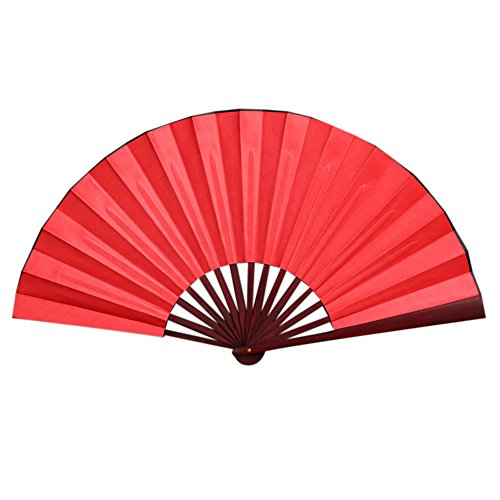 Hand Fan Chinese Folding Dance Wedding Party Folding Hand Held Solid Color Fan for Women/Men, Chinease Folding Hand Fan, Festival Fan Gift Fan Craft Fan Folding Fan Dance Fan (C)]()