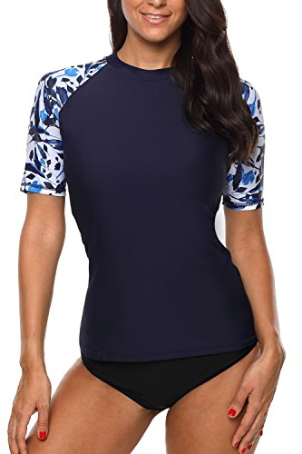 Sociala Rashguard for Women Short Sleeve Swim Shirt Floral UPF Rash Guard Top L