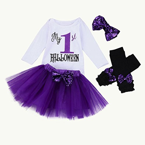 Halloween Costumes Medical Ideas (Halloween Baby Girl Clothes, Leewa@ 4PCS Infant Newborn Romper+Leg Warmers+Headband+Tutu Skirt Outfit (6 Months, Purple))