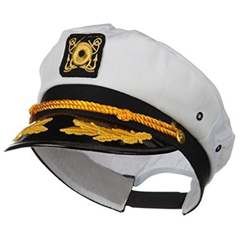Wall2Wall Captain's Yacht Sailors Hat Snapback Adjustable Sea Cap Navy Costume Accessory (1 Pc) ()
