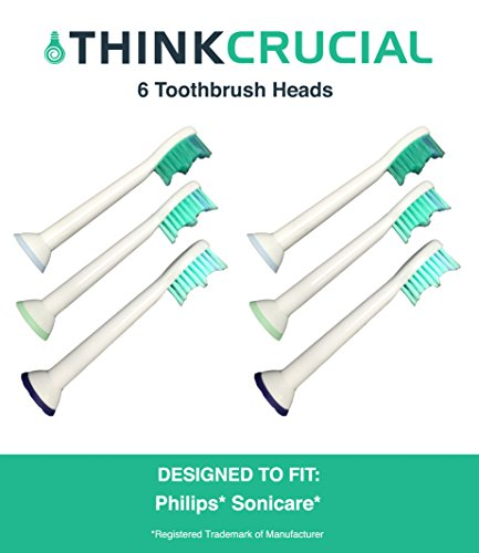 Price comparison product image 6 Premium Generic Philips Replacement Sonicare Electric Toothbrush Heads, Part # HX-6013, by Think Crucial