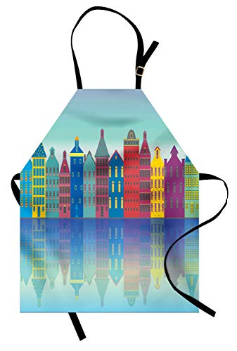 Ambesonne Amsterdam Apron, Colorful Cityscape Elements Futuristic Urban Scenes Architecture, Unisex Kitchen Bib Apron with Adjustable Neck for Cooking Baking Gardening, Azure Blue and Multicolor