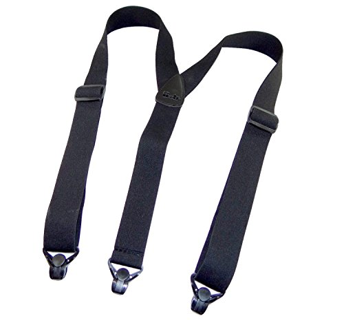 Holdup Suspender Companys No-buzz Airport Friendly Black Suspenders in Y-back Style with Patented composite plastic Gripper Clasps