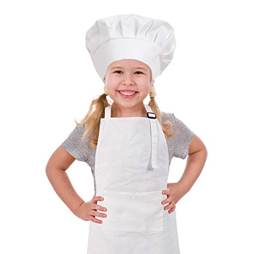 CRJHNS Kids Apron and Chef Hat Set, Adjustable Cotton Child Apron with Large Pocket White Boys Girls Bib Apron for Cooking Painting Baking (Large, -