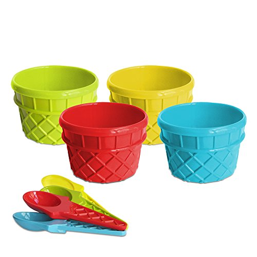 Ice Cream Cone Design Sundae Bowls with Matching Spoons - Reusable, Assorted Colors (Set of 8, Serves 4)
