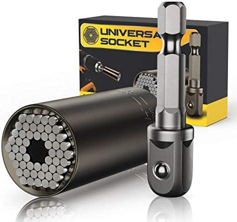 Universal Socket Tool Gift for Men, Grip Socket Set Fits Standard 1/4'' - 3/4'' with Multi-Function Power Drill Adapter, Stocking Stuffers Gifts for Men, DIY, Dad, Husband, Boyfriend, Him (Black)