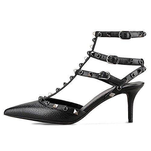 MERUMOTE Womens Y-107-2 Pointed Toe High Heels Shoes Mixed Colors Rivets Thin Straps Pumps Shoes US 5.5-15 Black-lines PR7Fkn