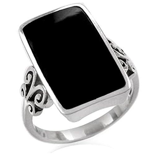 - Created Black Onyx Inlay White Gold Plated 925 Sterling Silver Swirl & Spiral Ring Size 10
