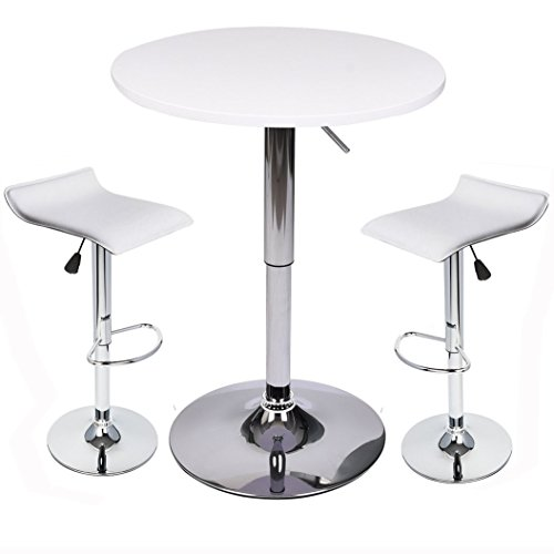 Elecwish Bar Table Set with Stools 24 Inches Wide Pub-Table with 2 Piece Adjustable Air Lift Swivel Barstools (White Set A)