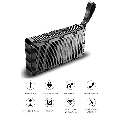 Mic Speaker Submersible - QLPP Wireless Bluetooth Speaker with Built-in-Mic IP67 Rated Fully Submersible Shock,Water,Dust and Scratch Proof 5W Power with 6 Hours Playtime