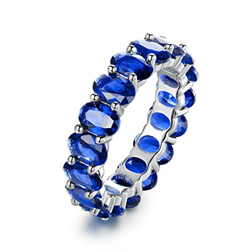 Barzel Rhodium Plated Eternity Cubic Zirconia Ring (Sapphire, 6)