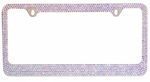 Frame Plate Tags (BLVD-LPF OBEY YOUR LUXURY  Popular Bling 7 Row AB Aurora Borealis Color Crystal Metal Chrome License Plate Frame with Crystal Screw Caps - 1 Frame)