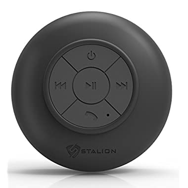 Shower Speaker: Stalion® Sound Waterproof Bluetooth Portable Audio System (Jet Black) Universal for iPhone 6 6s Plus iPod Touch iPad Air 2 Mini 4 iPad Pro Samsung Galaxy S6 Edge+ Galaxy Note 5