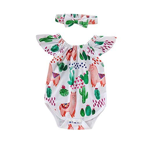 RoDeke Newborn Baby Romper Girls Summer Ruffled Sleeve Cartoon Cactus Print Floral Jumpsuit + Headband -