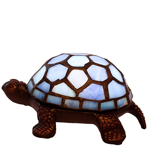 River of Goods 13471S Stained Glass Battery Operated Wireless Turtle Accent Lamp, 2.5-Inch, Blue