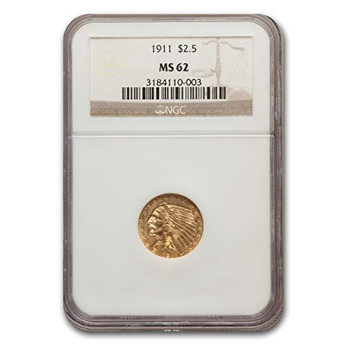 (1911 $2.50 Indian Gold Quarter Eagle MS-62 NGC $2.50 MS-62 NGC)