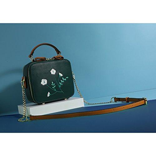 kleine Weiß Bag Diagonal Tasche Koreanisch Bag Women's Mini Green Kette Bag Schulter Farbe bestickt z7ZnxpU