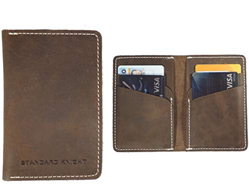 Vertical Fold Bi - Handmade Leather Vertical Wallet | The Mountaineer - Slim Bifold Minimalist Front Pocket, Crazy Horse Leather