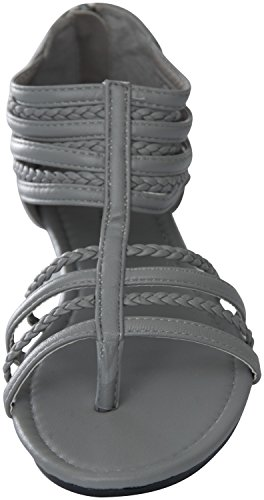 81002 Sandals Gladiator Roman Flats Perforated Womens Grey CpYwqn5