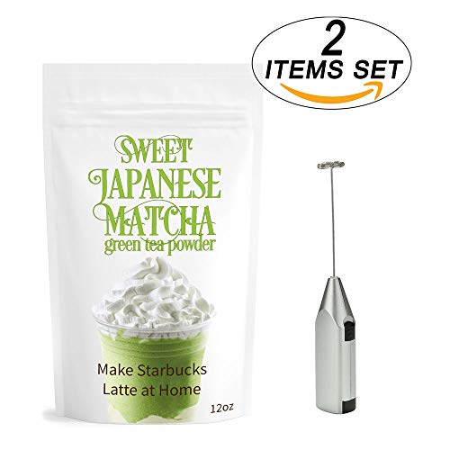Sweet Matcha Green Tea Powder 340g + Electric Frother (2 Items) Delicious Energy Drink - Latte, Frappe | Mix Made with USDA Organic Matcha | Matcha Outlet - Powder 340g