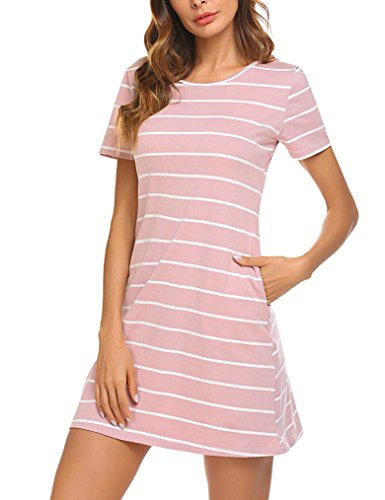 Pink Shirt Pockets T Sleeve Women's Dress Feager Short Mini Criss Casual Cross with Striped nUqSO