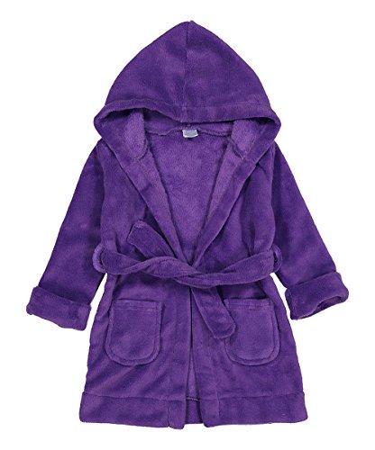 Elowel Boys Girls Hooded Purple Childrens Toddler Fleece Sleep Robe Size 5Y ()