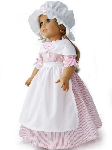 Colonial Pink Striped School Work Gala Gown Dress 5 Piece Outfit Set Fits American Girl 18″ Doll Felicity Elizabeth, Baby & Kids Zone