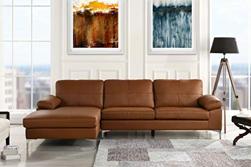 (Leather Sectional Sofa, L-Shape Couch with Chaise)