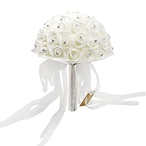 Wedding Bouquet, Romantic Bridal Bouquet with Sparkling Diamonds and Soft Ribbon, Artificial Rose Flowers for Wedding and Home Decor(White) 7