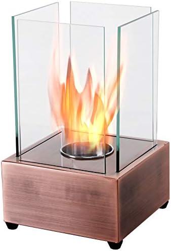 HOMCOM Freestanding Tabletop Ventless Bio Ethanol Fireplace Glass – Bronze