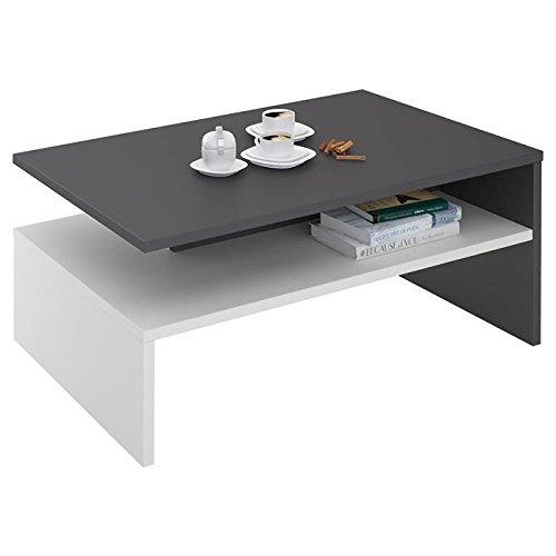 table Basse de Salon design pas cher rectangulaire avec Rangement mélaminé Gris Mat et Blanc Mat