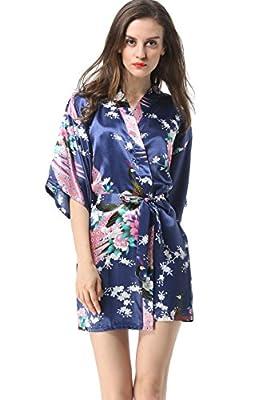 Vogue Forefront Women's Peacock&Flower Print Satin Short Kimono Robe