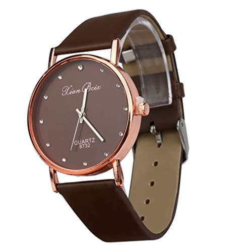 (WoCoo Watch for Women Girls, Analog Quartz Diamond Pointer Dial Wrist Watch with Leather Band,Gifts for Her(Coffee))