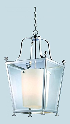 178-4 Chrome Ashbury 4 Light Full Sized Pendant with Clear Beveled Outside Glass and Matte Opal Inside Glass Shade