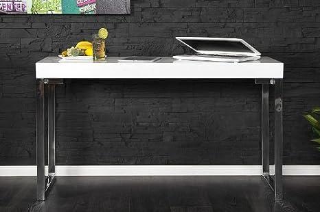 Casa-Padrino Designer Laptop Mesa Blanco Brillante – Escritorio ...