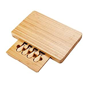 """COSTWAY VD-42530KC 5 PCS Bamboo Set-Stainless Steel Cheese Knife, Fork, Shovel, Scimitar with Rectangular Slide Out Cutting Board, Dimension of Box: 8.3"""" Diameter x 1.6"""" Thickness"""