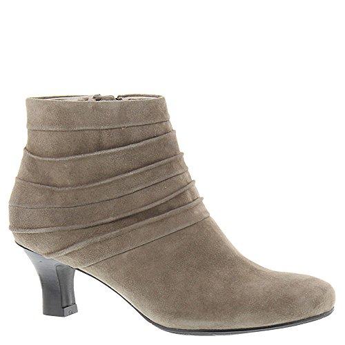 Scarpe Da Donna In Pelle Tonya Allineate Punta Alla Caviglia Stivali Moda Taupe