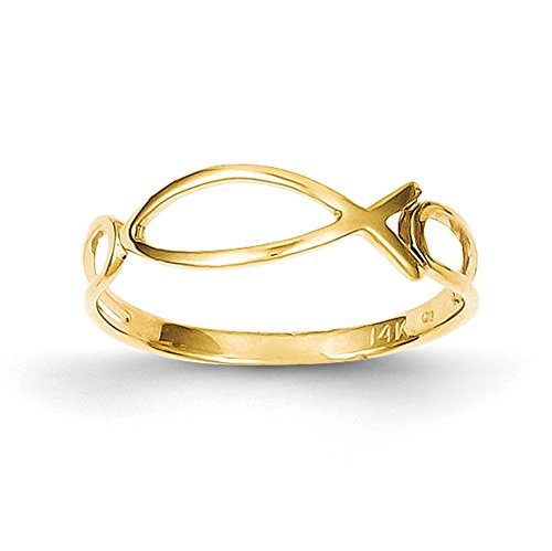 Lex & Lu 14k Yellow Gold Polished Ichthus Fish Ring-Prime ()