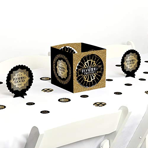 Big Dot of Happiness Roaring 20's - 1920s Art Deco Jazz Party Centerpiece & Table Decoration Kit -
