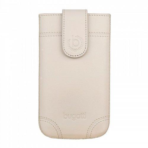 Bugatti SlimCase Dublin Creme/Weiß Ledertasche mit Magnetverschluss für Samsung Galaxy S4 mini, Apple iPhone 5 in Size ML