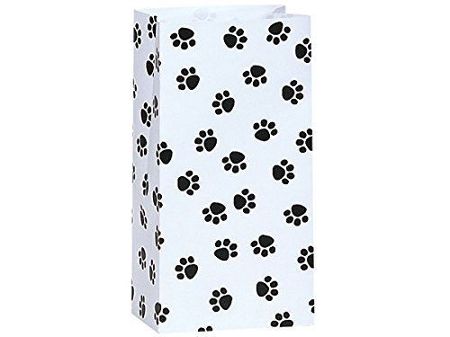 50/set Paw Print Black & White - All-occasion Paper Favor Gift Bags - 2lb - 4-1/4x2-3/8x8-3/16