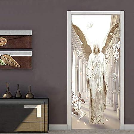 JHCMT 3D Pegatinas Decorativas De Puerta Alas de ángel de Piedra Paloma 80x210cm De Renovación De Puerta Pared Impermeable Autoadhesivo Removible Vinilo Wallpaper Decoración de Arte de Vacaciones: Amazon.es: Hogar