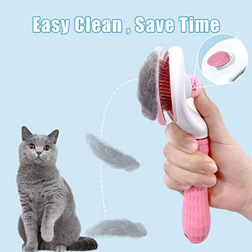 ELSPET Brush for Cat Dog/Shedding Brush with Self-Clean Eject Button/Cat Grooming Brush/Pet Massage Brush, Deshedding Tool for Short and Long Hair, Easy to Clean/Remove Pet Shedding Hair by Up to 98%