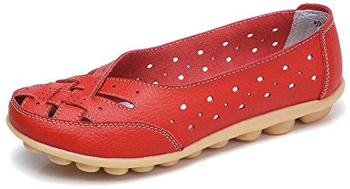 Fangsto Chaussures En Cuir De Vache Chaussures En Cuir Mocassins Appartements Sandales Slip-on Découpe Rouge