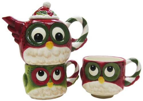 (Cosmos Gifts 10912 Christmas Owl Tea for 2 Tea Set, 5-3/4-Inch)