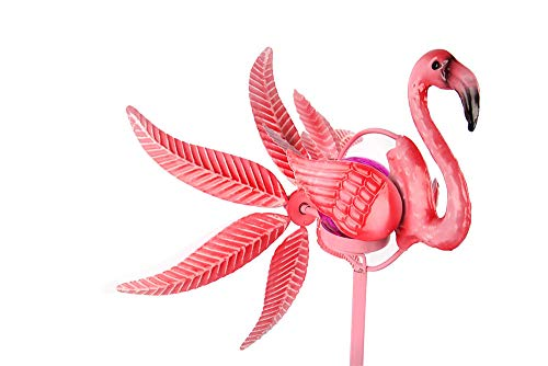 Liffy Solar Flamingo Wind Spinner Solar Powered Glass Ball Metal Decorative Stake Outdoor, Garden or Lawn Ornament (Flamingo Wind Spinner)