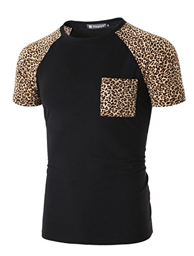 72c7c30d4cf5 uxcell Men Round Neck Color Block Leopard Prints Raglan Sleeves T-Shirt -  Buy Online in Oman. | Apparel Products in Oman - See Prices, Reviews and  Free ...