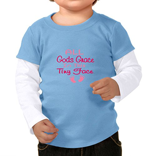 All Gods Grace In This Tiny Face 100% Cotton Long Sleeve tapped Neck Unisex Toddler Top Tee 2-fer - Blue White, 24 - All Pro Shirts T